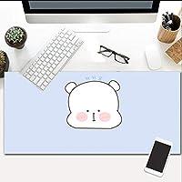 マウスパッド漫画クマ大型コンピュータマウスマットオフィスデスクトップキーボードマウスパッドノンスリップラバーベース防水ステッチエッジ900X400mm
