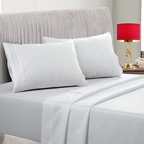 EMONIA 400 Thread Count 100% Cotton Sheet White King Sheets Set, 4-Piece Long-Staple Combed Pure Cotton Best Sheets for Bed, Breathable, Soft & Silky Sateen Weave Fits Mattress 14'' Deep Pocket