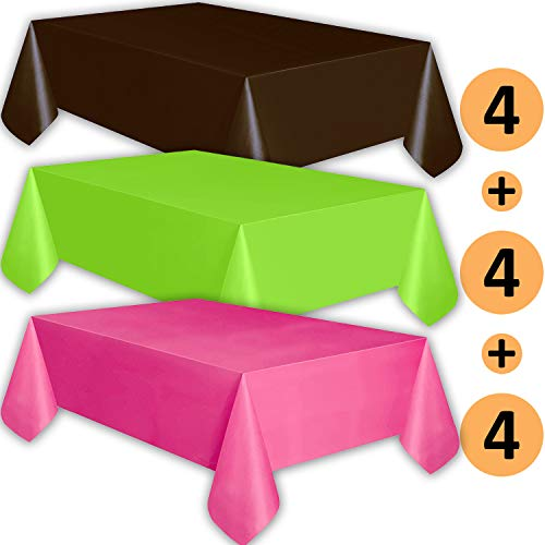 12 Plastic Tablecloths - Brown, Lime Green, Hot Pink - Premium Thickness Disposable Table Cover, 108 x 54 Inch, 4 Each Color