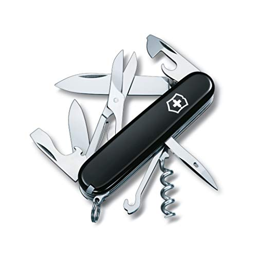Victorinox Climber Swiss Army Pocket Knife, Medium, Multi Tool, 14 Functions, Blade, Bottle Opener, Black