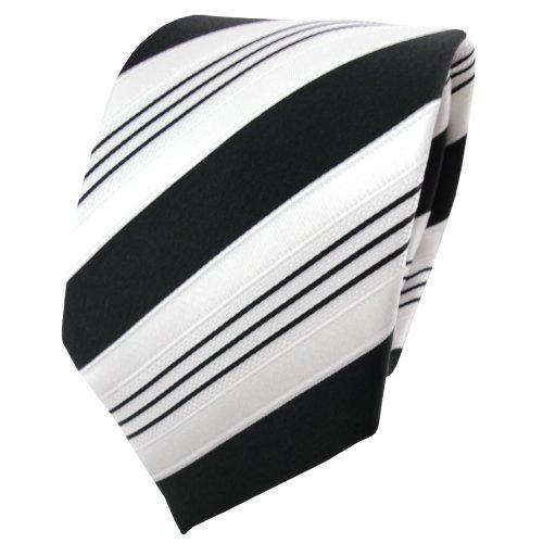 TigerTie Satin Krawatte schwarz anthrazit weiß silber gestreift