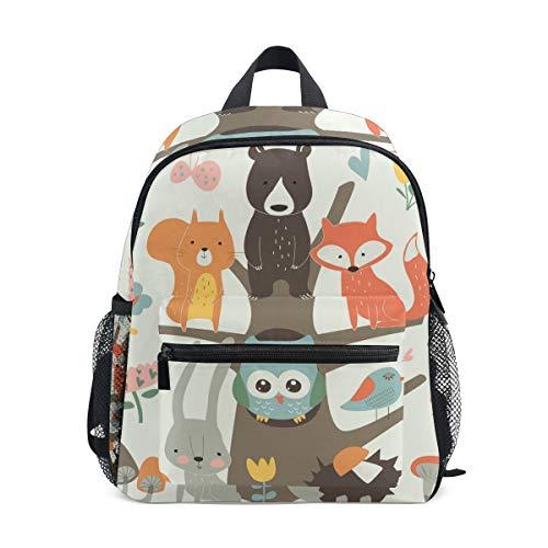 Linomo Fox Bear - Mochila Infantil, diseño de búho y Erizo