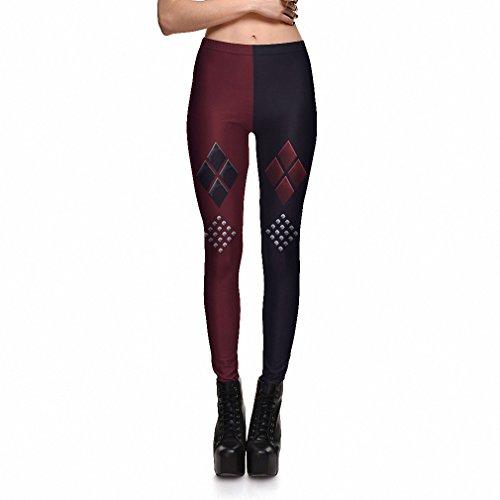 Harley Quinn rote und schwarze Leggings dc Harley Quinn Suicide Squad elasthan leggings Harlekin joker Kostüm Legging