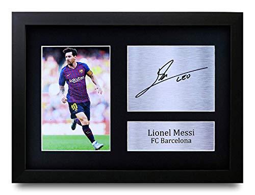 HWC Trading Lionel Messi Gift Gesigneerd A4 Gedrukte Handtekening Geschenken Photo Display