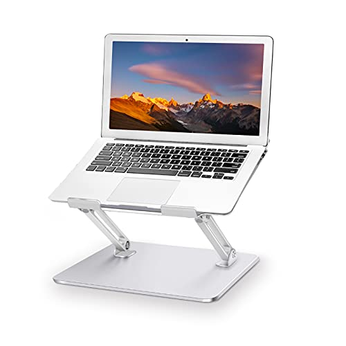 Aluminum laptop stand, ergonomic laptop holder, portable computer stand with heat-vent, compatible with macbook, air, pro, hp, dell, sumsung all laptop 10-17' - silver