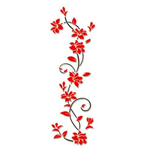 WEQQ Wandaufkleber 3D Romantische Rose Blumenmuster Wandaufkleber Abnehmbarer Aufkleber (rot)
