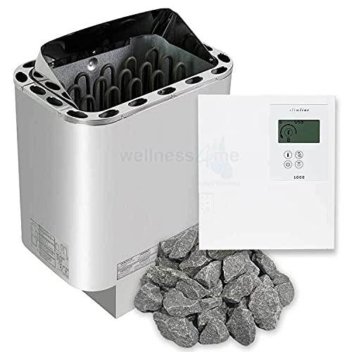 Well Solutions Saunaofen Edelstahl Next 9 kW/Externer Sauna Steuerung Slimline - Made in Germany