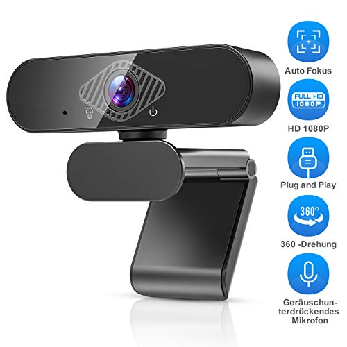 Teaisiy Webcam,Webcam Mit Mikrofon Webcam HD 1080p USB Webcam für Videoanrufe, Studieren, Konferenzen, Aufzeichnen, Spielen mit drehbarem Clip etc,PC/Mac/ChromeOS/Android