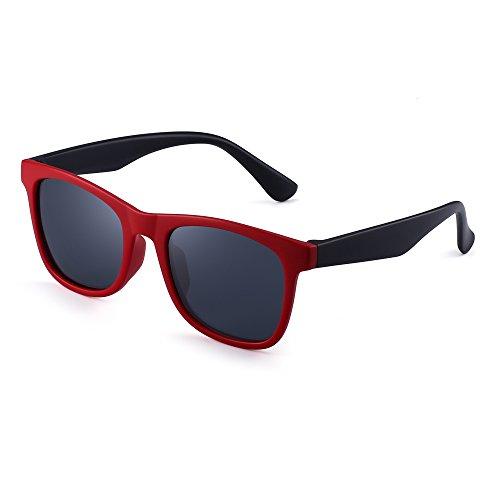 JM Polarizadas Niños Gafas de Sol Goma Chicas Chicos Hijos Flexible Anteojos Años 3-12(Rojo Negro/Gris Polarizado)