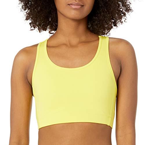 Amazon Essentials Women's Medium Support Racerback Active Sculpt Sports Bra, Bright Yellow