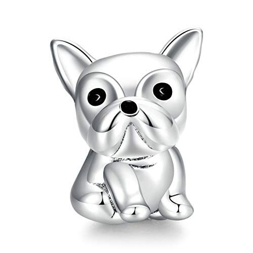 Gmsqj Abalorio De Bulldog, Platino Plateado De Plata De Ley 925, Accesorios De Joyería para Bricolaje, Dijes para Pulsera Y Collar, Regalo De Cumpleaños para Mujeres Y Niñas