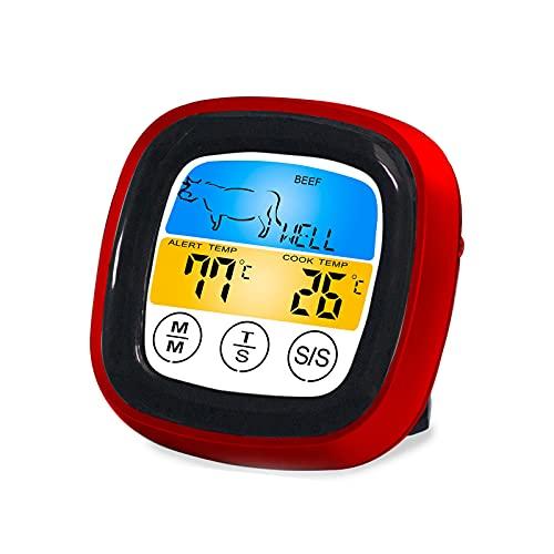 Rehomy Termómetro digital de carne para cocinar pantalla táctil de color termómetro de comida con sonda larga temporizador luz de fondo para cocinar barbacoa
