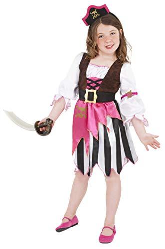 Smiffys kinderen piraten meisjeskostuum, jurk en haarband, maat: M, 38640