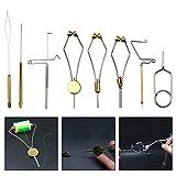 AGOOL Fly Tying Tool Kit with Hackle Plier Dubbing Needle Threader Holder Whip Finisher Handle Bullet Bobbin Holder