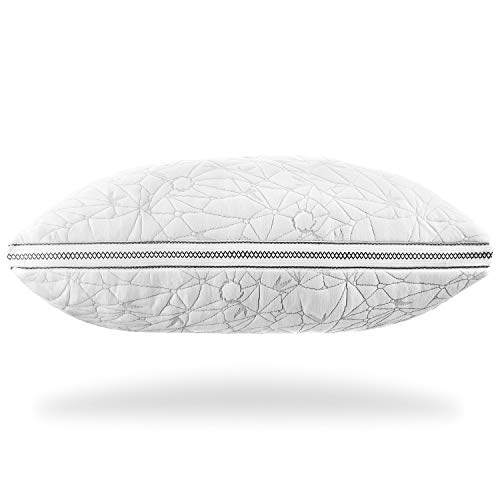 Nestl Gel-Infused Memory Foam Pillow   Shredded Memory Foam Pillow   Cooling Pillow Cover   CertiPUR US Approved   Queen Pillows for Sleeping, Set of 2