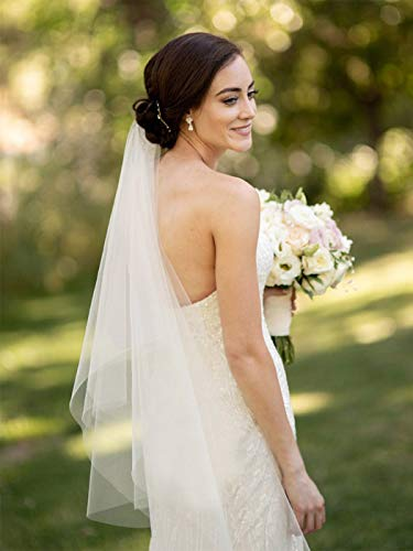 Mayelia - Velo de novia para novia, color blanco, 2 niveles, con peine de velo para mujeres y niñas