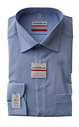 Marvelis Hemd, Modern Fit, Extra lang 69er Arm, Bügelfrei, Knitterfrei, 100% Baumwolle, New Kent Kragen (43, Hellblau)