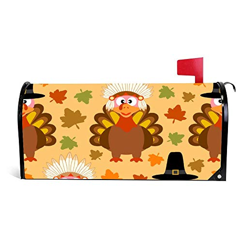 wendana Thanksgiving Naadloze achtergrond met grappige Turkije brievenbus Cover Magnetische Vinyl Thuis Tuin Decor brievenbus Wrap Post Brievenbus Cover 18