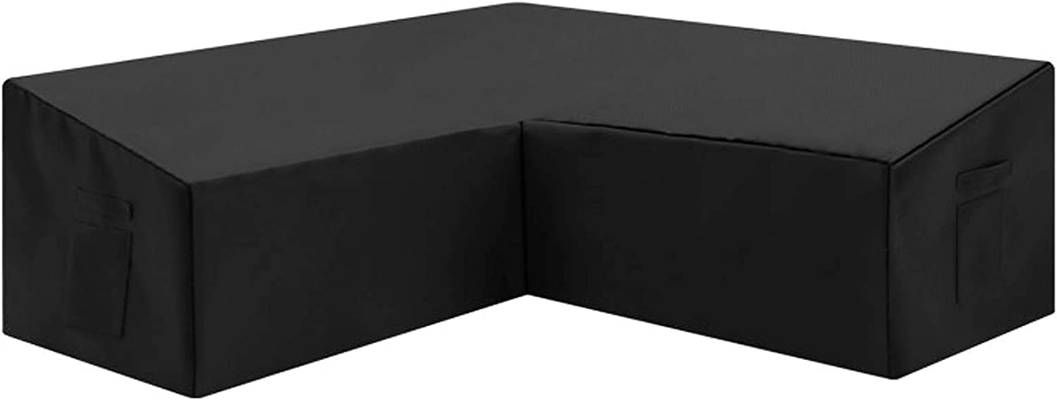 Orqihod V-Shaped Patio Furniture Cover Waterproof 600D Heavy Duty Outdoor Sectional Sofa Covers with Storage Bag 85x85inch Black Protective Cover for Corner Sofa Windproof