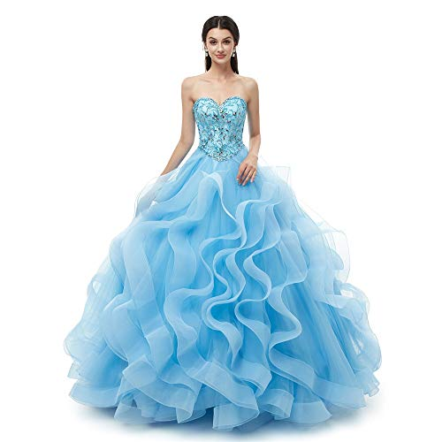 Lazacos Women's Sweetheart Beaded Ruffles Organza Quinceanera Party Prom Dress