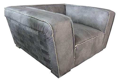 Casa Padrino Echtleder Sessel Grau 131 x 110 x H. 67 cm Leder Möbel