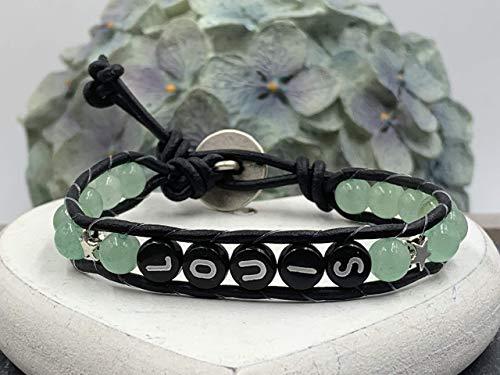 Grünes Armband Louis, Bohoarmband Aventurin mit Name, Armband für Junge