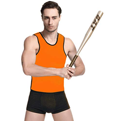 Baijiaye Herren Neopren Fitness Shape Figur Shirt Sauna Schwitzeffekt Tank Top Fitness Shirt Bauchfett Burner Slimming Suit Orange M