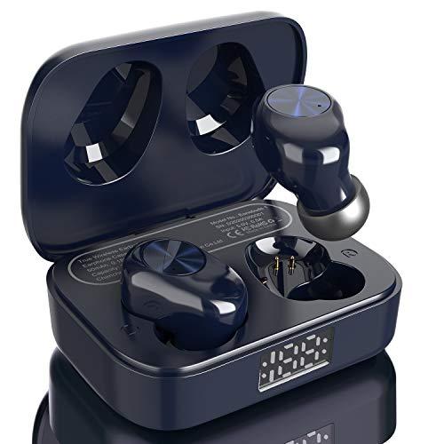 Amazon Brand – Eono Auriculares de botón inalámbricos Eonobuds 1 con Bluetooth, Sonido nítido,IPX7 de impermeabilidad,Carga USB-C,Auriculares Bluetooth en la Oreja para el Trabajo (Azul Oscuro)