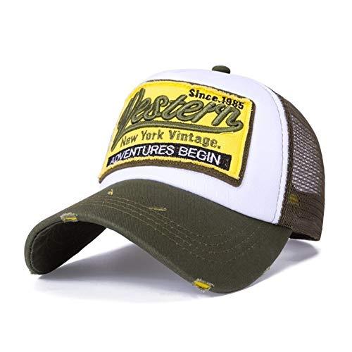 Sombrero Gorra de béisbol de Malla de Moda Letras Gorras de Bordado Mujeres y Hombres Sombrero de Verano Gorra Snapback Unisex Hueso Ajustable (Color : Green)