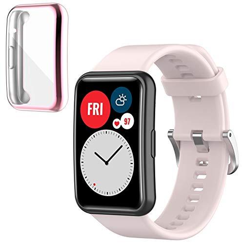 Braleto Cinturino Compatibile con Huawei Watch Fit Smartwatch, Braccialetto di Ricambio in Silicone Sportivo + TPU Custodia Protettiva Antiurto (Rosa&Rosa)