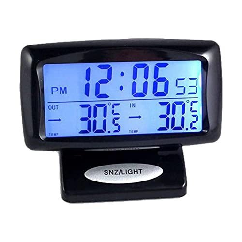 boode Termómetro De Automóvil En El Interior Exterior - 2-en-1 Sensor De Calibre De Termómetro Digital Luminoso De 2 En 1 con Reloj Electrónico, Monitor De Pantalla Dual Fahrenheit para Cualquier Bus
