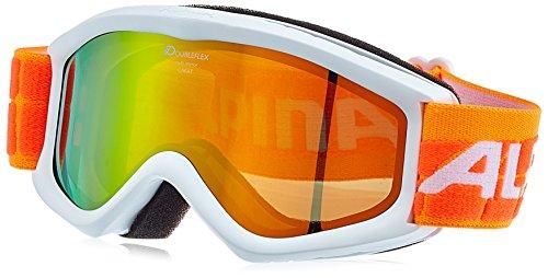 ALPINA Kinder Skibrille Carat D Multimirror, Rahmenfarbe: White, Linsenfarbe: Mm Orange S2, One size
