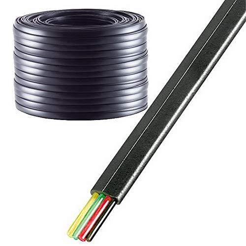 100 m erenLine® Telefonkabel 4-adrig; Flachkabel; schwarz; [Telefon-Flach-Kabel] (Grundpreis: € 0,12/m)