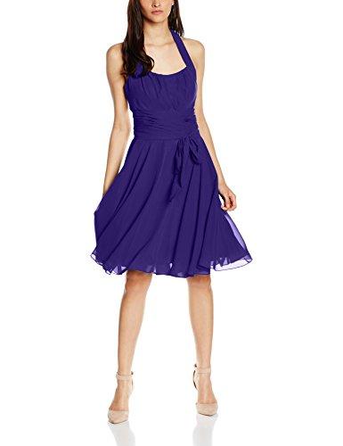 Astrapahl Damen Cocktail Kleid Neckholder, Knielang, Einfarbig, Gr. 44, Violett (Lavendel)