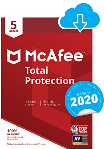 McAfee Total Protection 2020 | 5 Geräte | 1 Jahr | PC/Mac/Smartphone/Tablet | Download Code