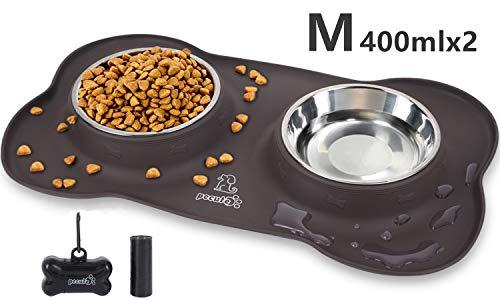 Pecute Ciotole per Cani Gatti in Acciaio Inox con Tappetino Silicone Antiscivolo (M (12 oz *2, 2 * 400ml/ciotola))