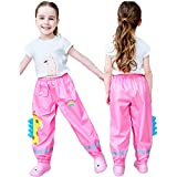 Aniywn Toddlers Rain Waterproof Pants Little Boys Girls Mud Dirty Proof Trousers Kids Lightweight Thin Rainwear Pink