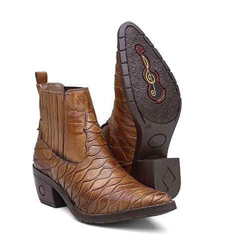 Bota Botina Country Texana Feminina Bico Fino Escamada Cor:Whisky;Tamanho:37