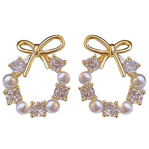 ZHDXW Pendientes para mujer elegantes pendientes de cristal redondo con arco, pendientes de perlas y diamantes de imitación, para regalo de mujer