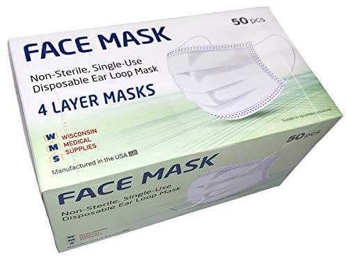 WMS 4-Layer Face Masks, Wisconsin Medical Supplies, MADE IN USA, 4 Pack (200 PCs)