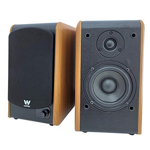Woxter Dynamic Line DL-610 Wooden - Altavoces de estantería terminados en Madera autoamplificados (20 RMS 180 W, Bluetooth, conexión de 3,5mm, PC, TV, Tablets, Smartphones, mp3.)