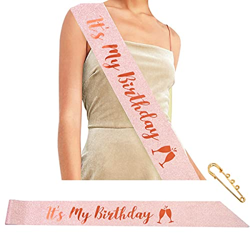 jenich Oro Rosa Compleanno Fascia Its My Birthday Fusciacca Gadget per Decorazioni Festa di Compleanno Addobbi per Compleanno Donna Ragazze 16 ° 18 ° 21 ° 30 ° 40 ° 50 ° 60 Anni