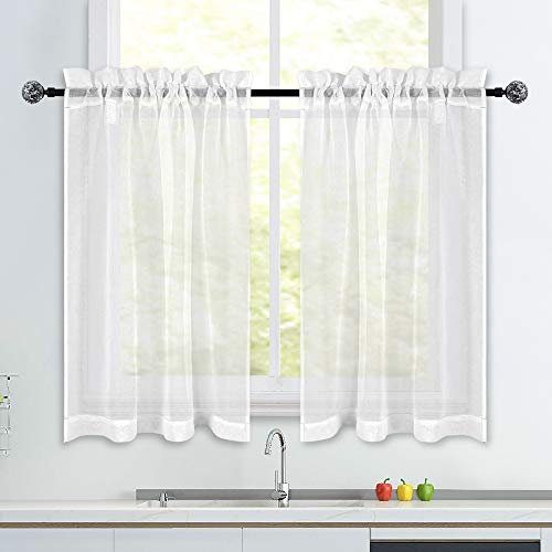 White Short Sheer Kitchen Curtains 36 inch Length Tier Curtains Rod Pocket Sheers Cafe Curtains Linen Like Privacy Semi Sheer Drapes Half Window Curtain for Basement Bathroom Small Windows 34X36 Inch