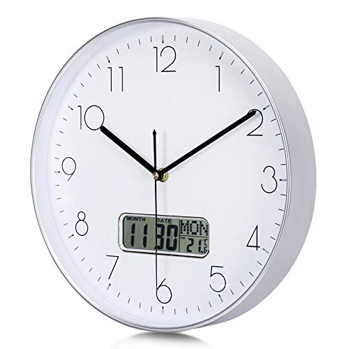 Lafocuse Hohe Qualität Mattes Silber Lautlos Wanduhr mit Datum Thermometer Gross LCD Digitale Kalender Quarzuhr Deko für Wohnzimmer Schlafzimmer 30cm