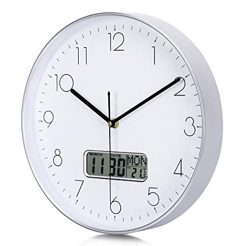 Lafocuse Reloj de Pared Calendario Plateado con Fecha y Termometro LCD Reloj Cuarzo Silencioso Modernos para Oficina Dormitorio Sala 30 cm