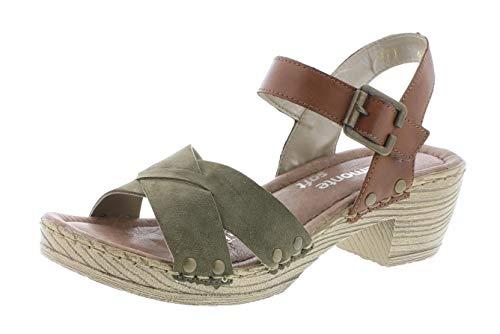 Remonte D6955 Damen Sandaletten,Sandaletten,Sommerschuhe,offene Absatzschuhe,hoher Absatz,feminin,olive/muskat/54,38 EU / 5 UK