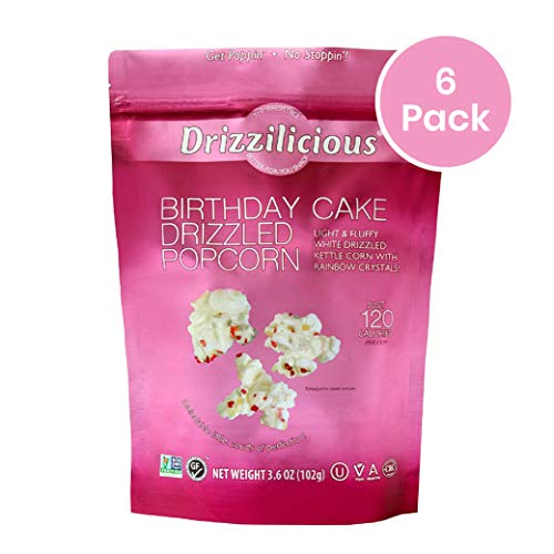 Lowest Prices! Drizzilicious Birthday Cake Drizzled Popcorn 3.6oz 6 Pack - 120 Calorie, Gluten Free,...