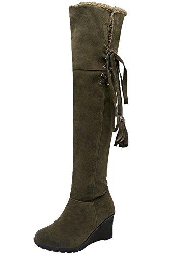 Botas de Nieve Mujer Long Casual Otoño Invierno Cuña Cordones Cómodo Cálidas Rodilla Botas Altas De BIGTREE Verde 34 EU (Ropa)