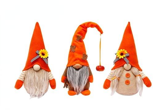 Muñeca sin rostro del festival de la cosecha de 3 piezas, adornos enanos Rudolph de pie de calabaza de girasol, decoración de ventana de fiesta en casa de vacaciones enana sin rostro de Acción de Grac