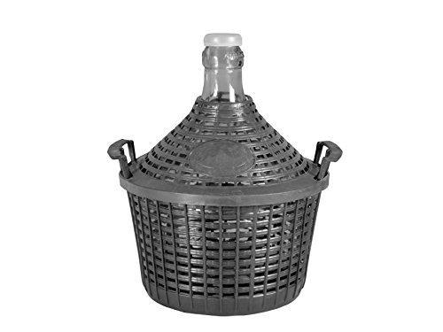 Home Korbflasche mit Korb, Glas/Kunststoff, Beige, 15 Liter